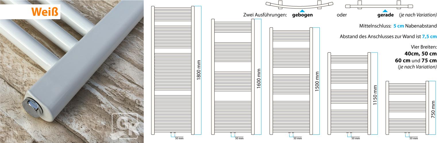 Handtuchtrockner Anthrazit Gebogen Mittelanschluss Heizk/örper 1150x750